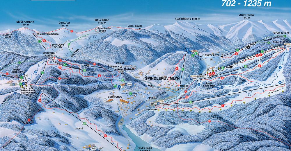 Planul pistelor Zonă de schi Špindlerův Mlýn / Svatý Petr - Hromovka