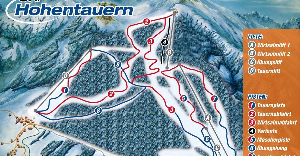 Plan skijaških staza Skijaško područje Hohentauern