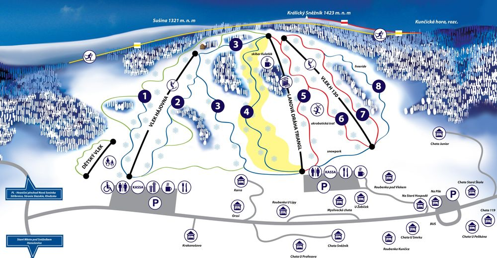 Piste map Ski resort Kunčice
