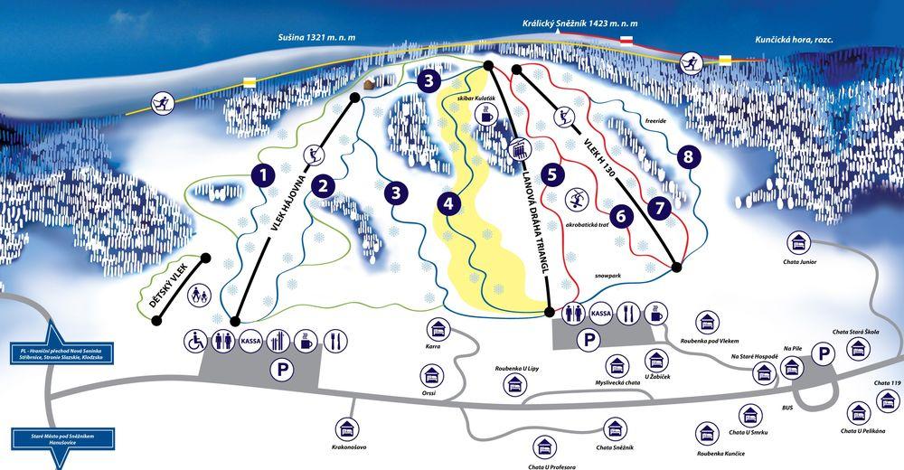 Pistenplan Skigebiet Kunčice
