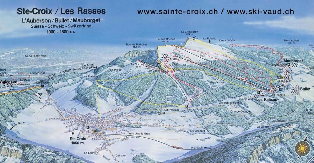 Pisteplan Skigebied Sainte Croix - Les Rasses