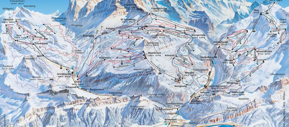 Loipenplan Jungfrau Region / Grindelwald - Lauterbrunnen