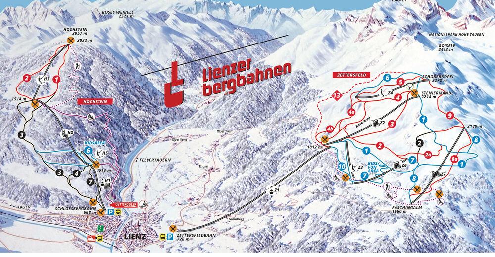 Pistenplan Skigebiet Lienzer Bergbahnen - Zettersfeld/Hochstein