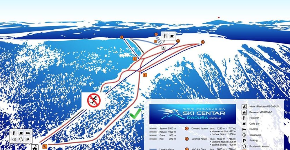 Planul pistelor Zonă de schi Radusa