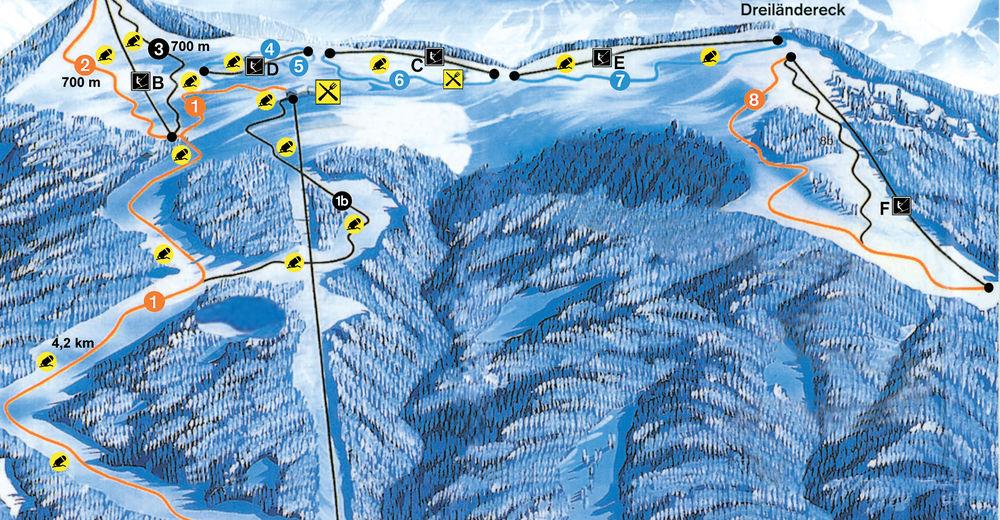 Načrt smučarske proge Smučišče Dreiländereck - Arnoldstein
