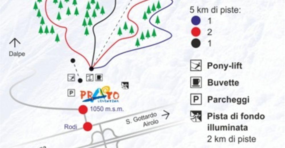 Plan skijaških staza Skijaško područje Prato Leventina