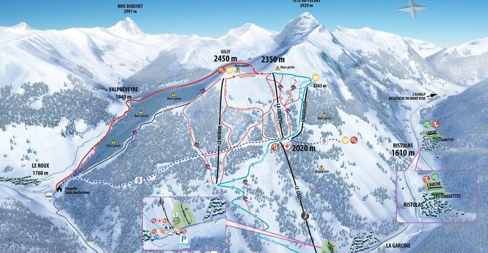 Bakkeoversikt Skiområde Abriès en Queyras