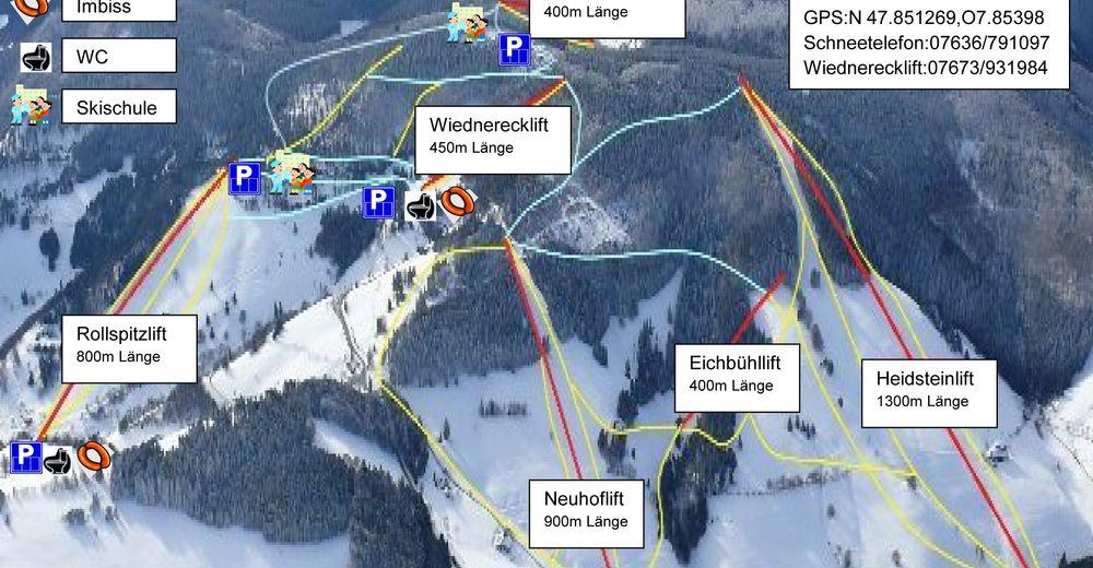 Plan skijaških staza Skijaško područje Münstertal-Wieden