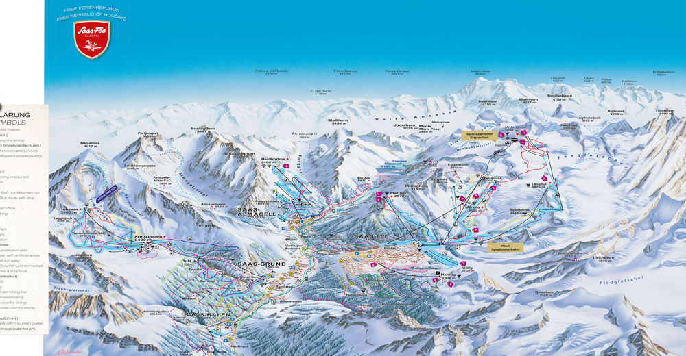 Piste map Ski resort Saas-Fee