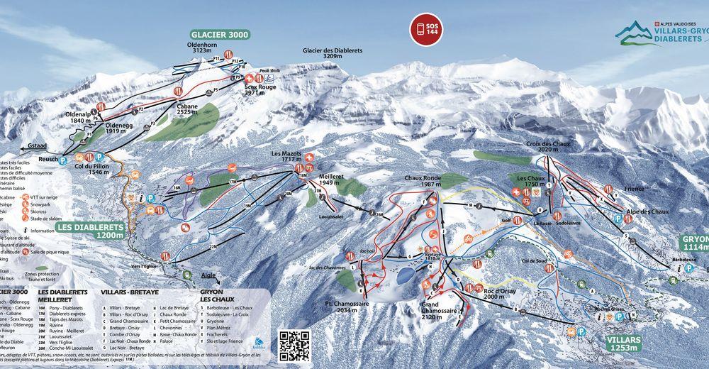 Pistplan Skidområde Villars - Gryon