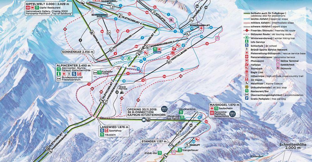 Piste map Ski resort Kaprun - Maiskogel