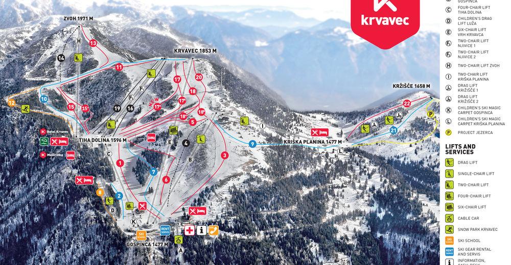 Plan de piste Station de ski Krvavec