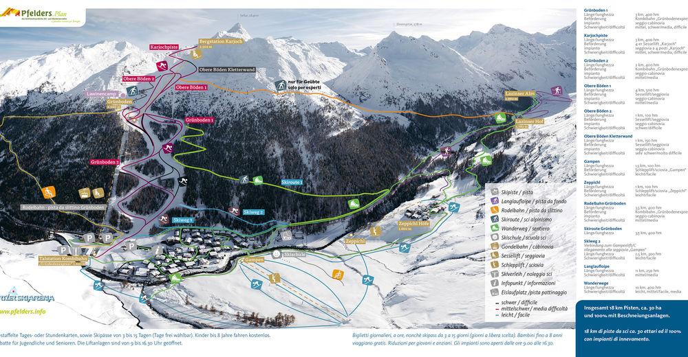 Pisteplan Skigebied Pfelders im Passeiertal