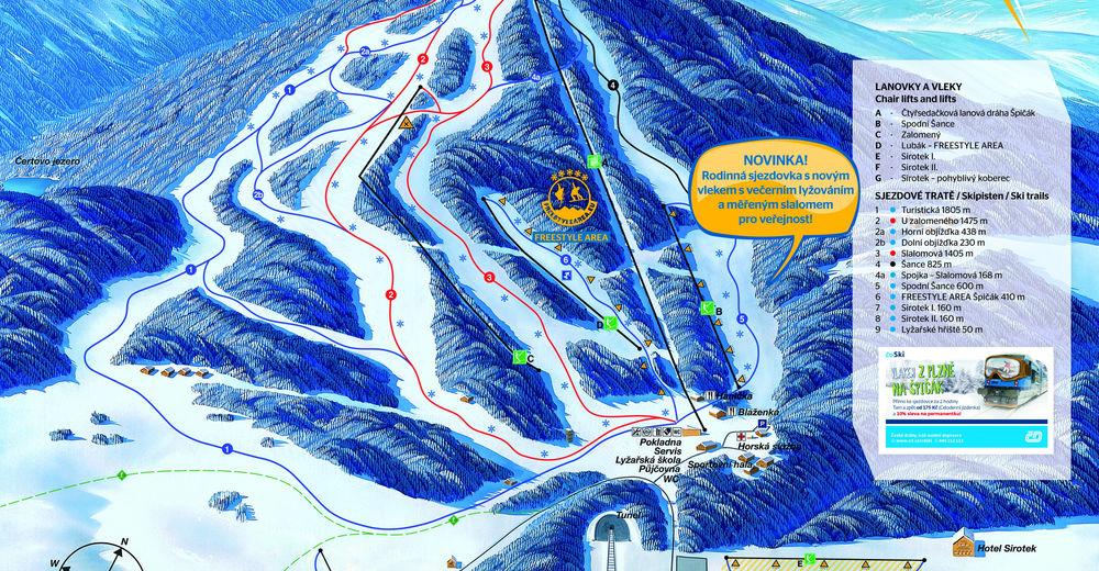 Plan de piste Station de ski Špičák