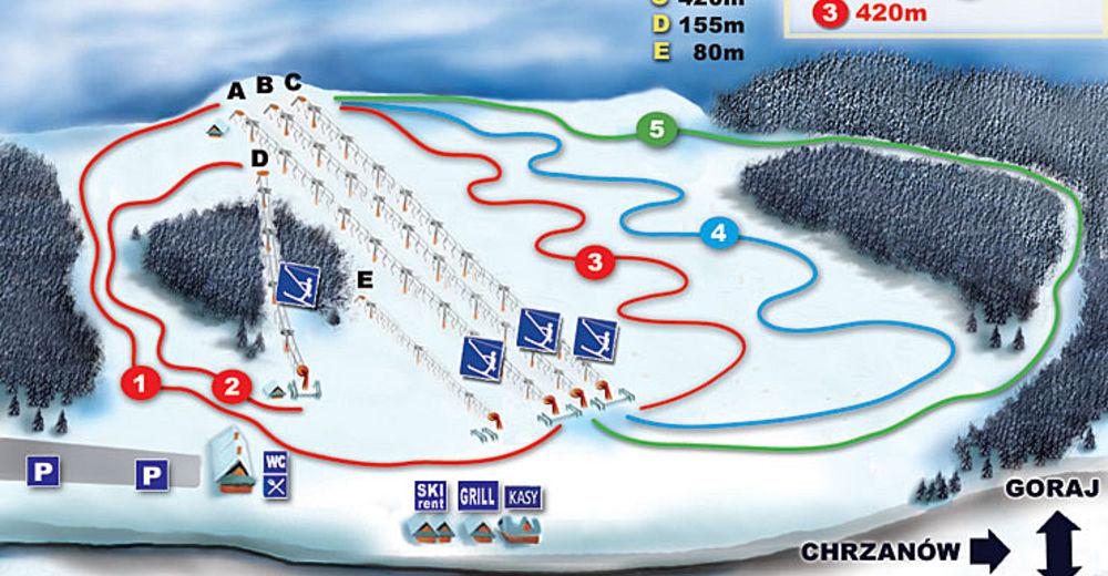 Mapa stoków Ośrodek narciarski Natraj / Chrzanów