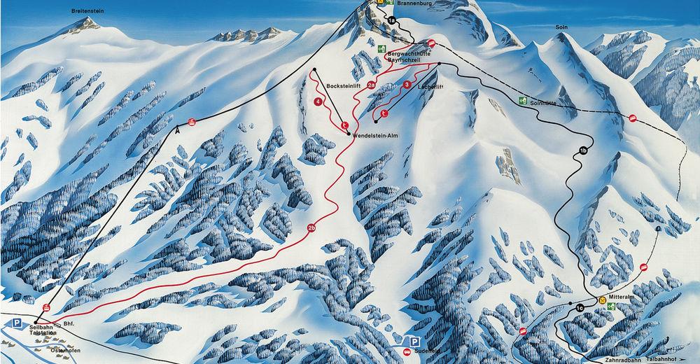 Pistenplan Skigebiet Wendelstein - Brannenburg