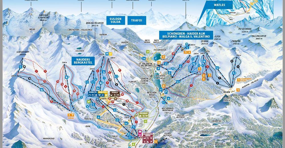 Piste map Ski resort Schöneben - Haideralm / Reschenpass
