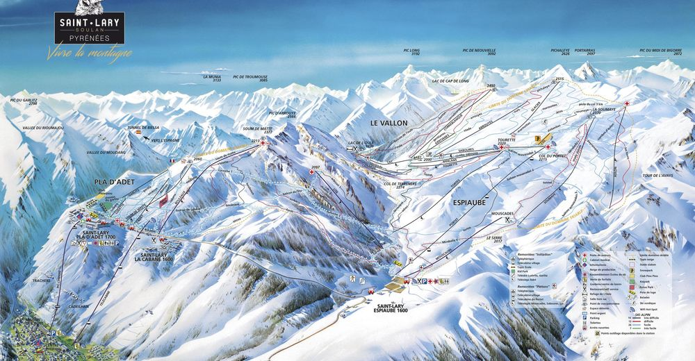 Plan skijaških staza Skijaško područje Saint Lary Soulan