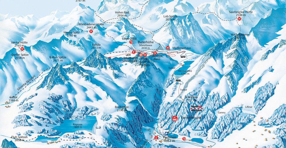 Planul pistelor Zonă de schi Silvretta Bielerhöhe im Montafon