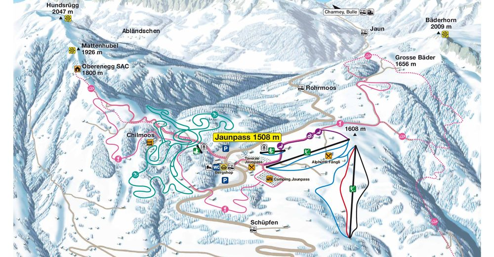 Plan de piste Station de ski Jaunpass