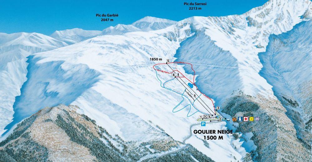 Pisteplan Skiområde Goulier