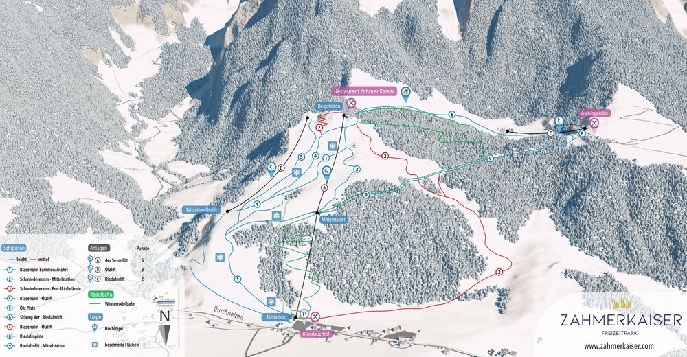 Mappa delle piste Comparto sciistico Zahmer Kaiser - Walchsee