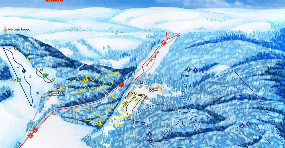 Pistenplan Skigebiet Harusák / Nové Město na Moravě