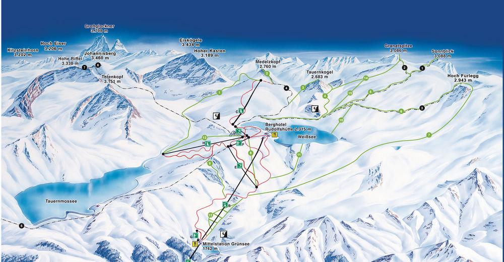 Piste map Ski resort Weissee Gletscherwelt