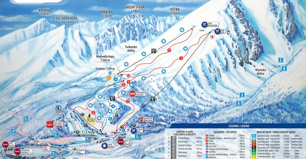 Planul pistelor Zonă de schi Štrbské Pleso