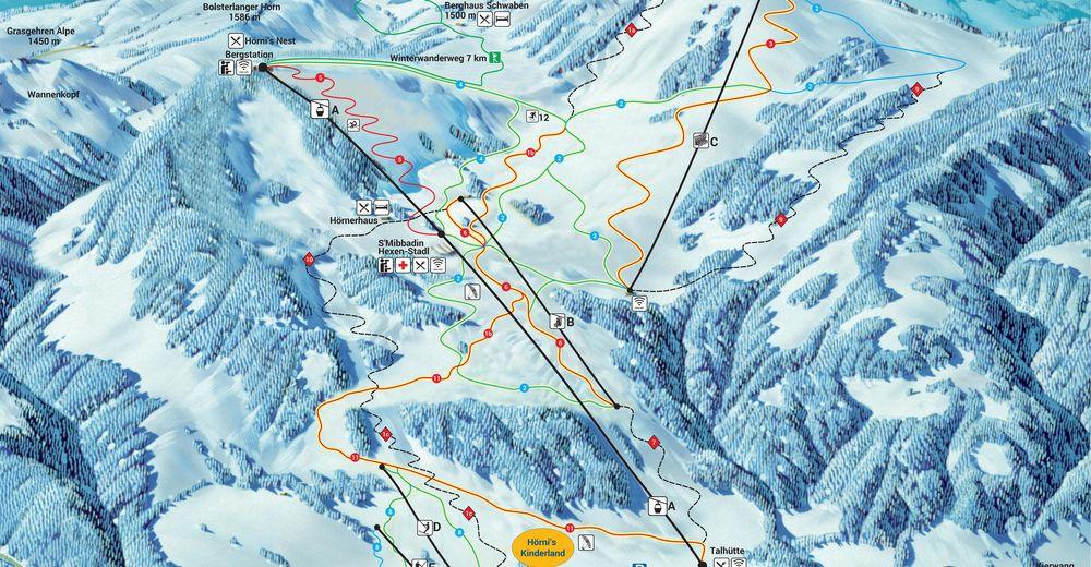Plan skijaških staza Skijaško područje Bolsterlang / Hörnerbahn