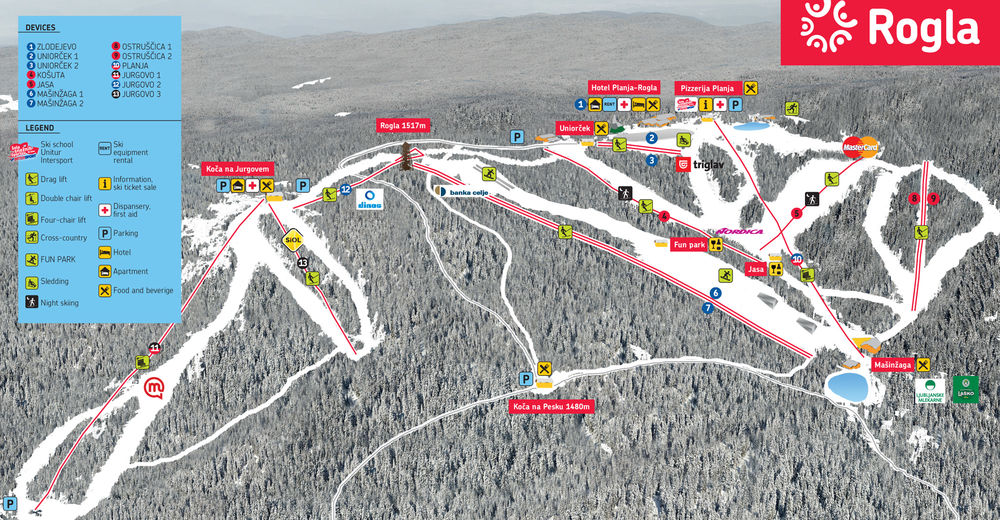 Piste map Ski resort Rogla