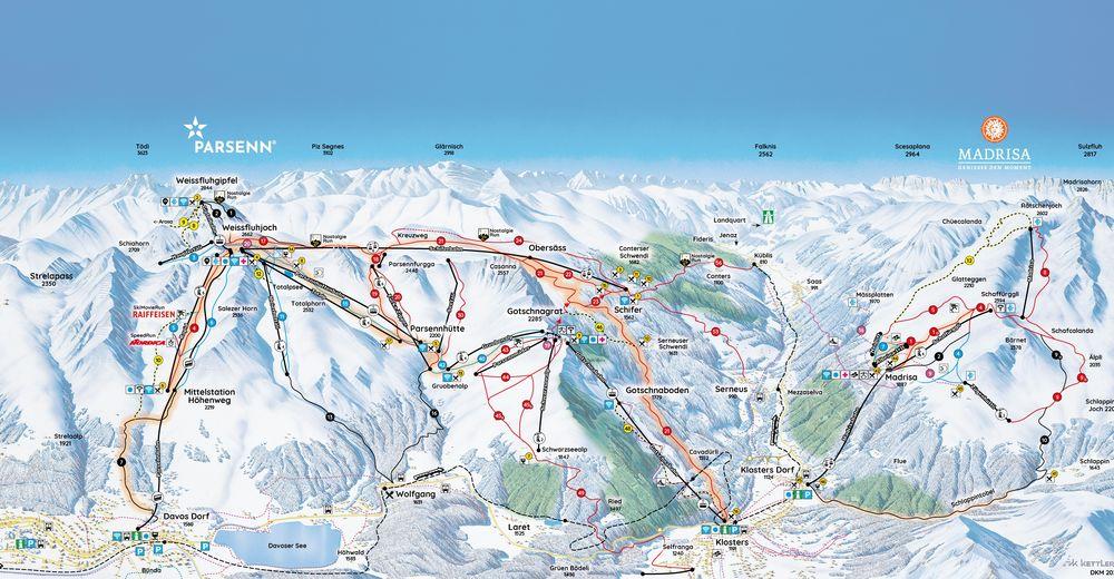 Pistplan Skidområde Davos Klosters Parsenn