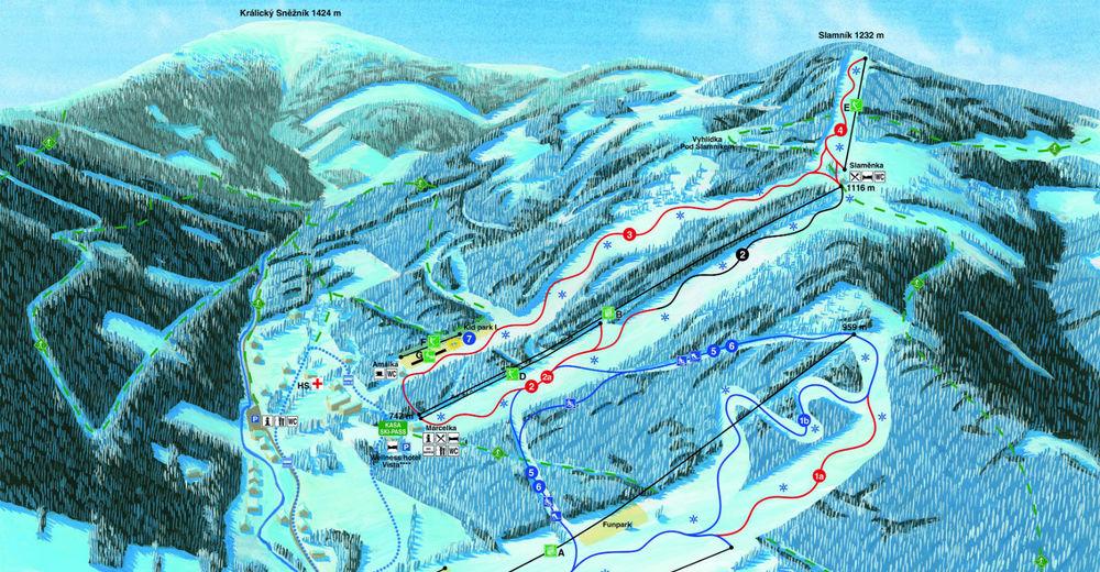 Mappa delle piste Comparto sciistico Dolní Morava