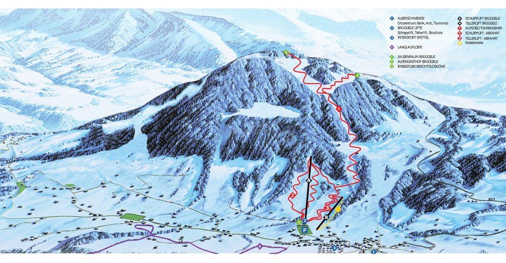 Mappa delle piste Comparto sciistico Alberschwende