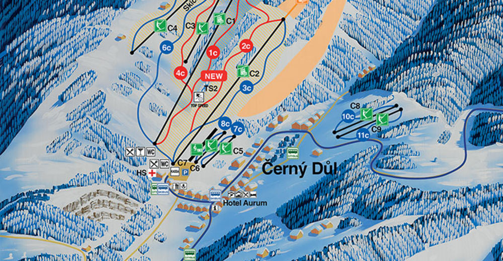 Plan de piste Station de ski Černý Důl / Černá hora - Pec
