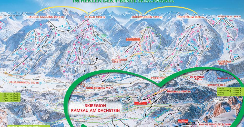 Mappa delle piste Comparto sciistico Ramsau / Dachstein - Ski amade