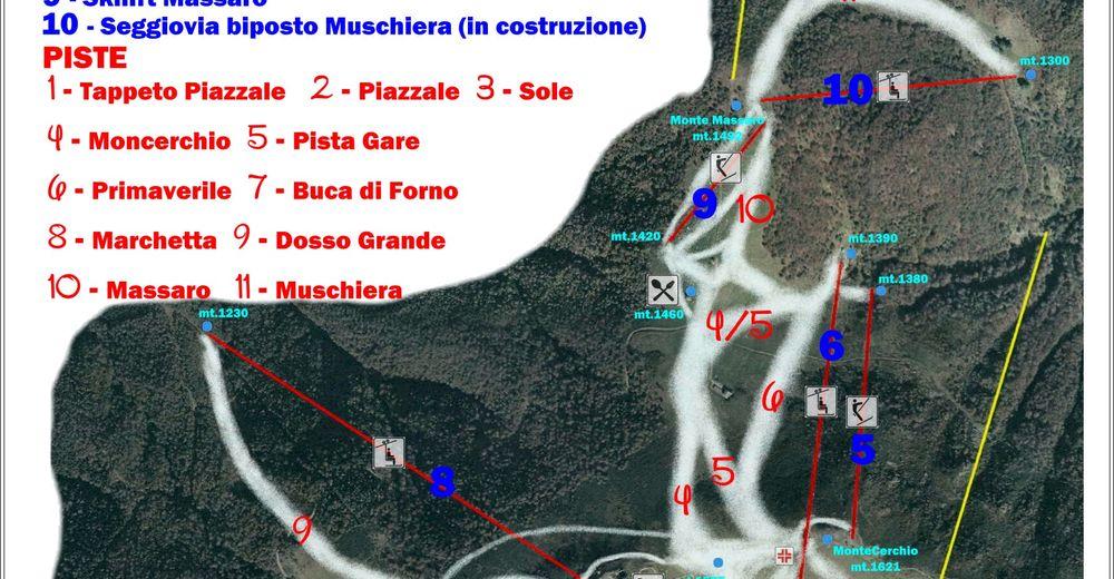 Načrt smučarske proge Smučišče Bielmonte
