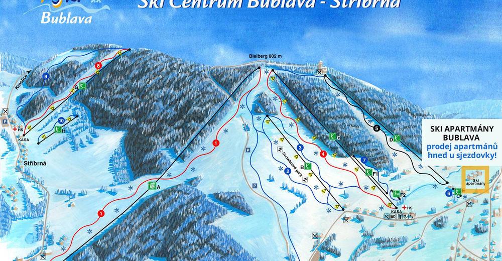 Plán sjezdovky Lyžařská oblast Bublava - Stříbrná
