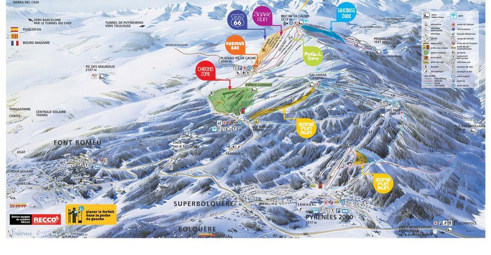 Pistenplan Skigebiet Font-Romeu - Pyrénées 2000