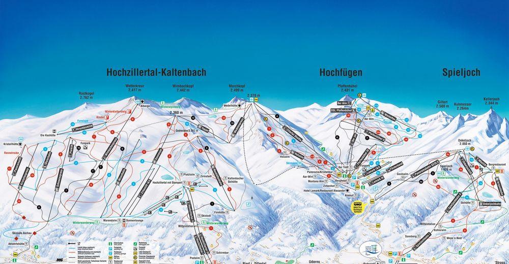 Pisteplan Skiområde Hochfügen Zillertal