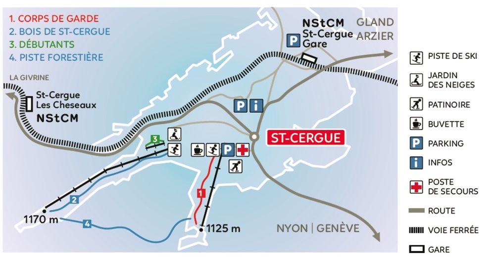 План лыжни Лыжный район St. Cergue