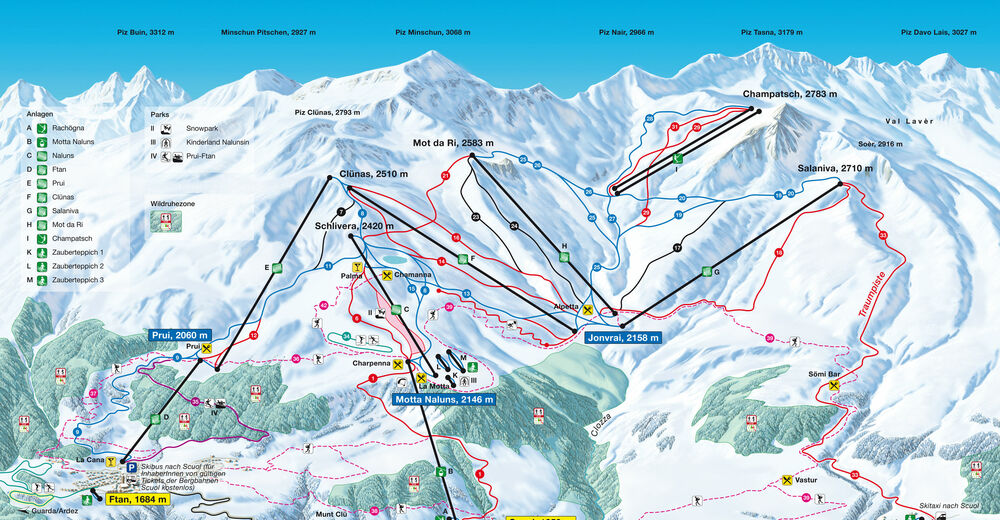 Mapa stoków Ośrodek narciarski Scuol Motta Naluns