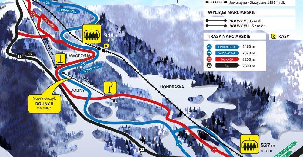 Mapa stoków Ośrodek narciarski Centralny Ośrodek Sportu Szczyrk