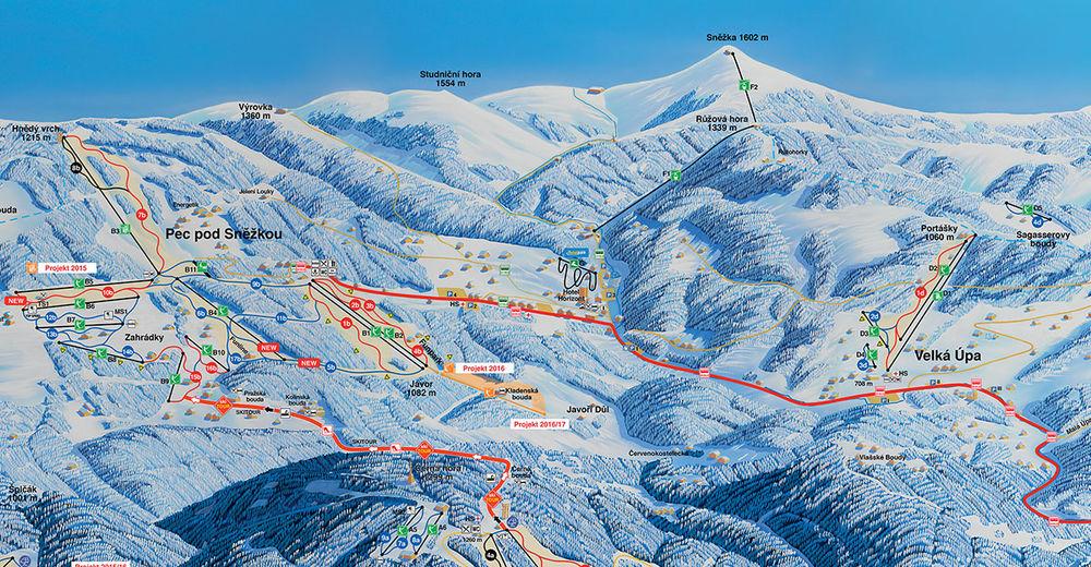 Mapa stoków Ośrodek narciarski Pec pod Sněžkou / Černá hora - Pec