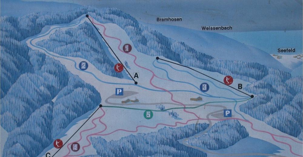 Plan skijaških staza Skijaško područje Wachtberglifte Weyregg am Attersee