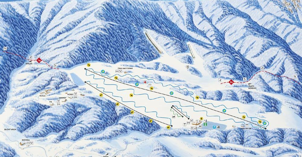 Piste map Ski resort Králiky