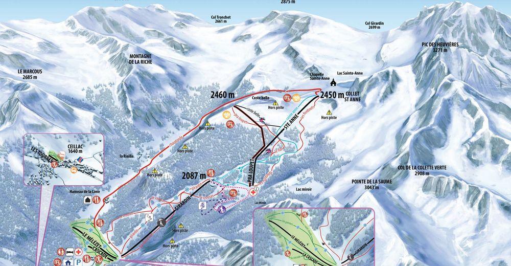 Plan skijaških staza Skijaško područje Ceillac en Queyras