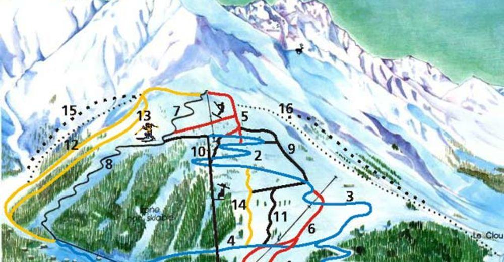 Planul pistelor Zonă de schi Val Ferret - La Fouly