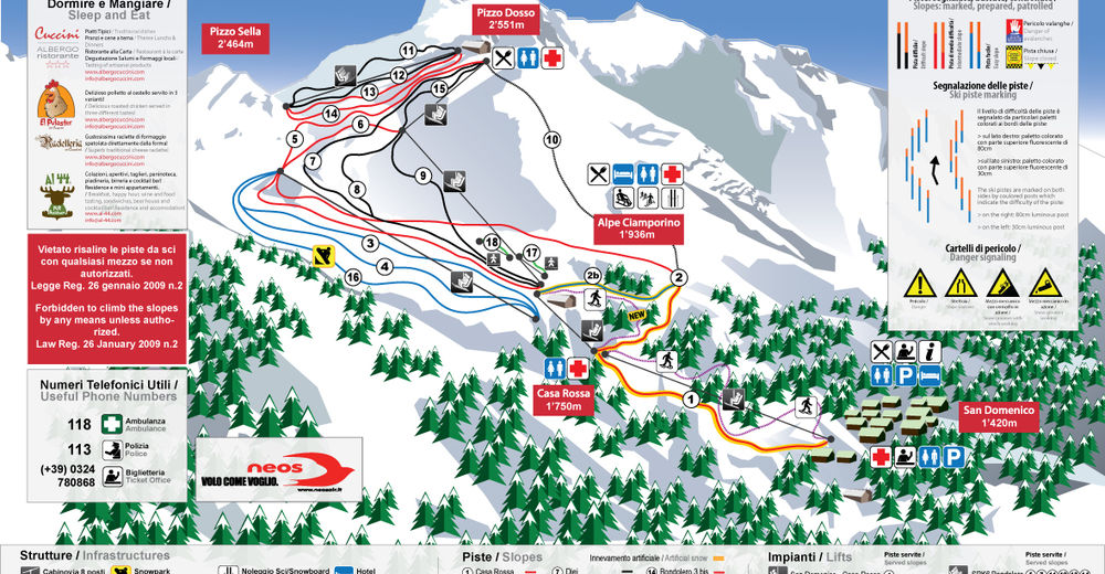 Piste map Ski resort San Domenico
