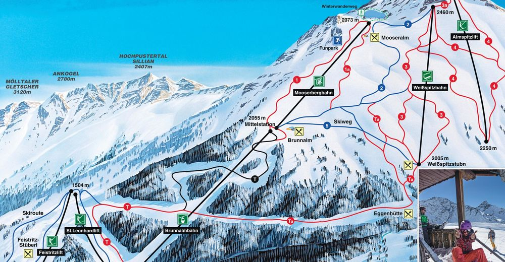 Piste map Ski resort St. Jakob im Defereggental / Brunnalm